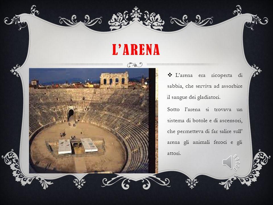 L'arena L'arena era ricoperta di sabbia, che serviva ad assorbire il sangue dei gladiatori.