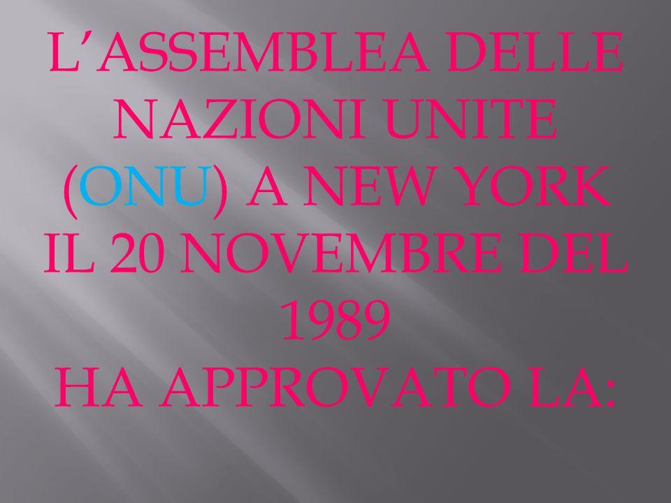 L'ASSEMBLEA DELLE NAZIONI UNITE (ONU) A NEW YORK IL 20 NOVEMBRE DEL 1989