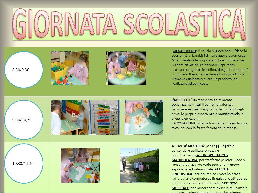 GIORNATA SCOLASTICA 8,30/9,30 9,30/10,30 10,30/11,30