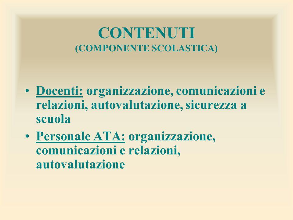 CONTENUTI (COMPONENTE SCOLASTICA)
