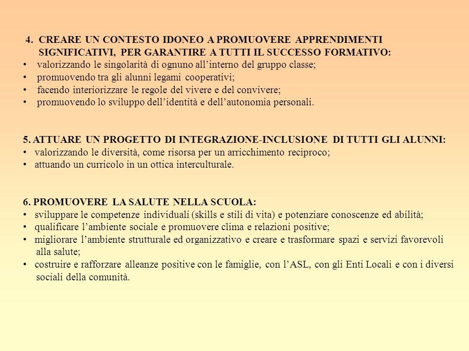 4. CREARE UN CONTESTO IDONEO A PROMUOVERE APPRENDIMENTI
