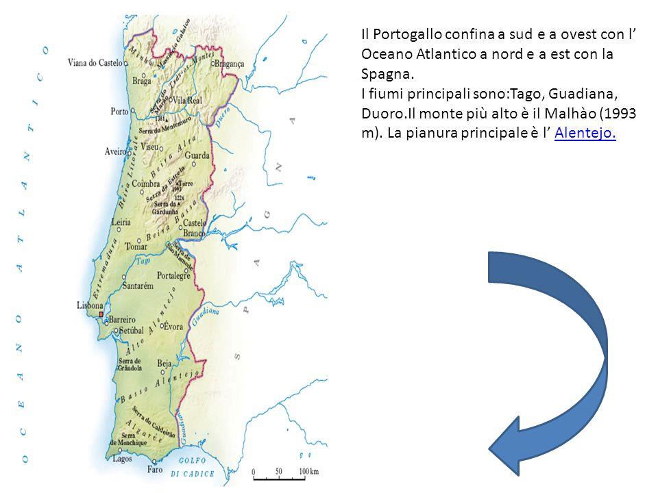 Il Portogallo confina a sud e a ovest con l' Oceano Atlantico a nord e a est con la Spagna.