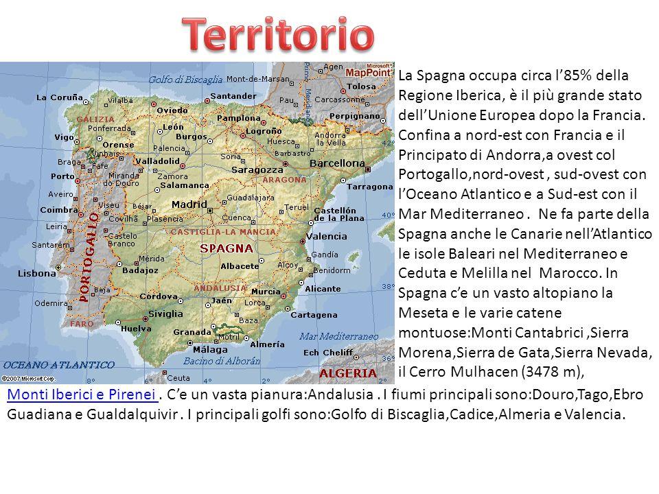 Territorio La Spagna occupa circa l'85% della