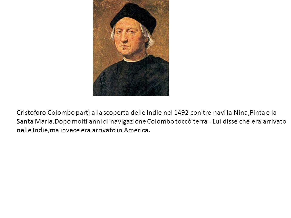 Cristoforo Colombo partì alla scoperta delle Indie nel 1492 con tre navi la Nina,Pinta e la Santa Maria.Dopo molti anni di navigazione Colombo toccò terra .
