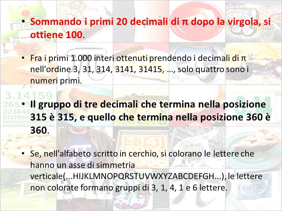 Sommando i primi 20 decimali di π dopo la virgola, si ottiene 100.