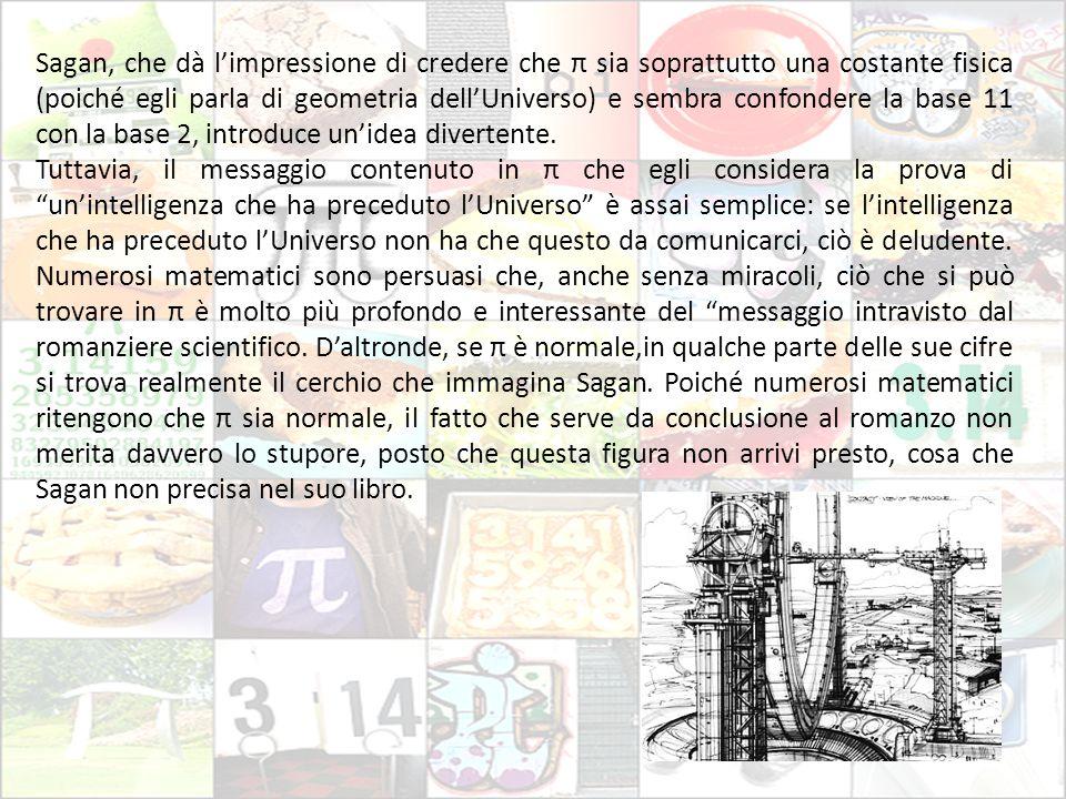 Sagan, che dà l'impressione di credere che π sia soprattutto una costante fisica (poiché egli parla di geometria dell'Universo) e sembra confondere la base 11 con la base 2, introduce un'idea divertente.