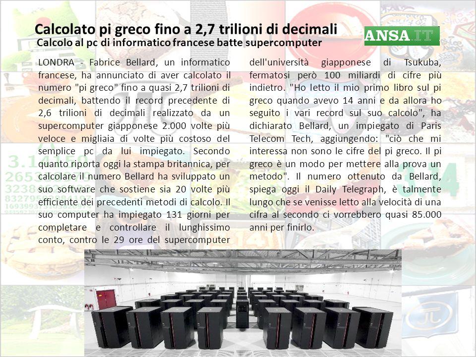Calcolato pi greco fino a 2,7 trilioni di decimali