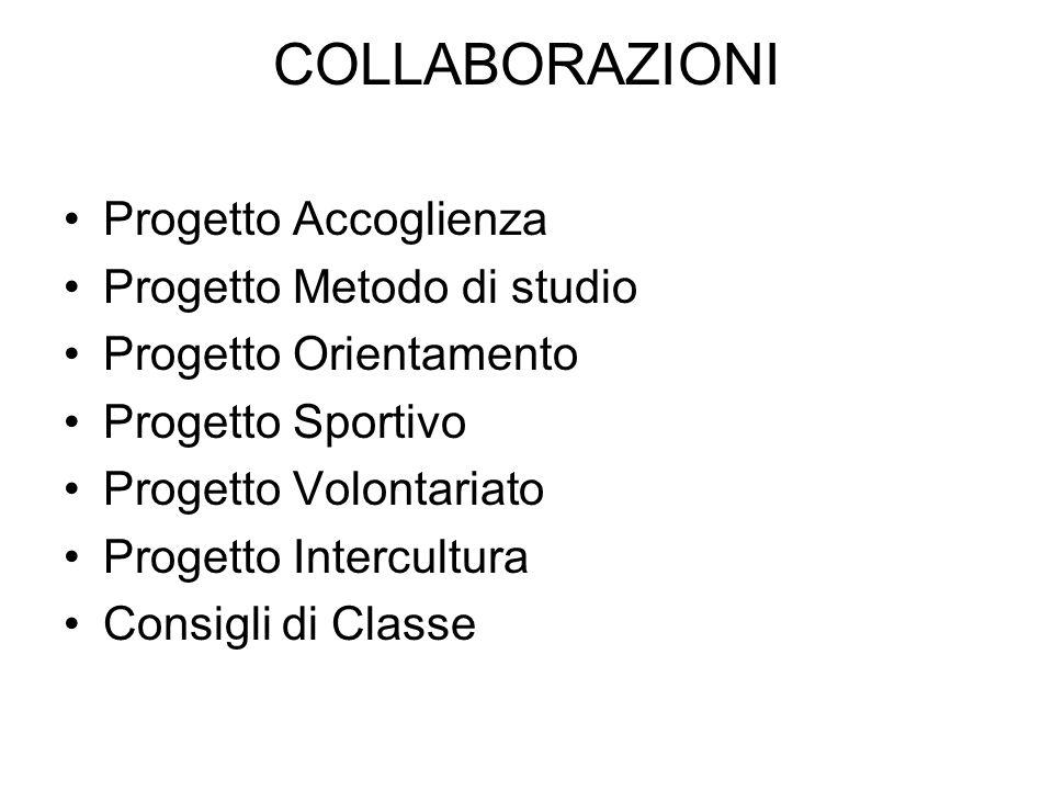 COLLABORAZIONI Progetto Accoglienza Progetto Metodo di studio