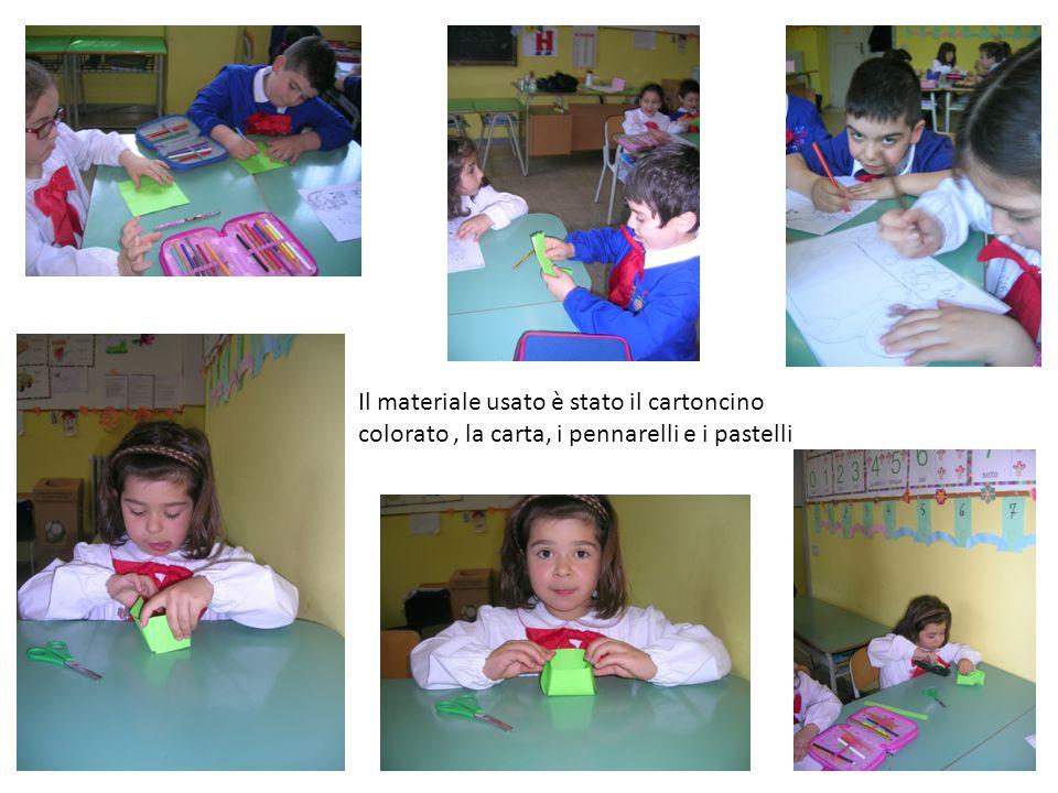Il materiale usato è stato il cartoncino colorato , la carta, i pennarelli e i pastelli