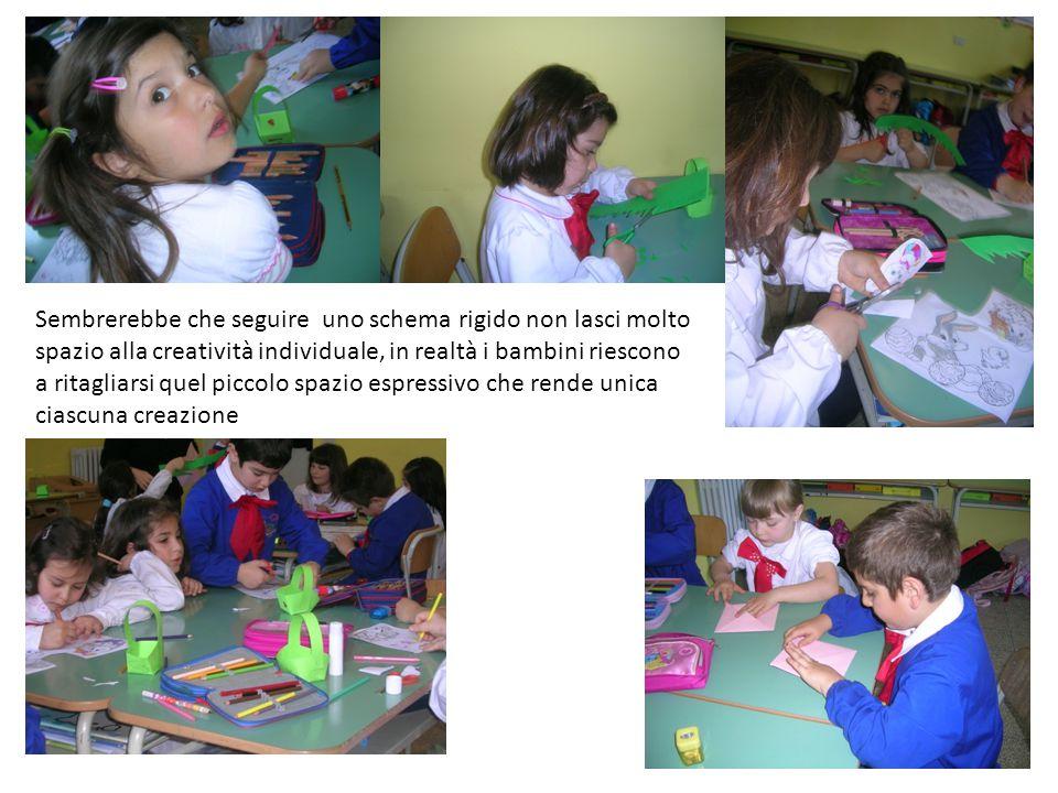 Sembrerebbe che seguire uno schema rigido non lasci molto spazio alla creatività individuale, in realtà i bambini riescono a ritagliarsi quel piccolo spazio espressivo che rende unica ciascuna creazione