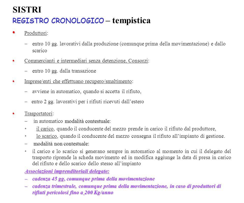SISTRI REGISTRO CRONOLOGICO – tempistica • Produttori: