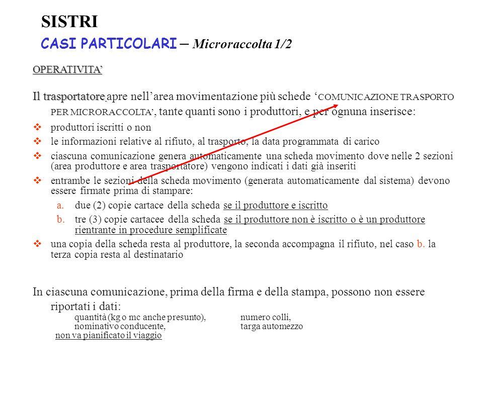 SISTRI CASI PARTICOLARI – Microraccolta 1/2