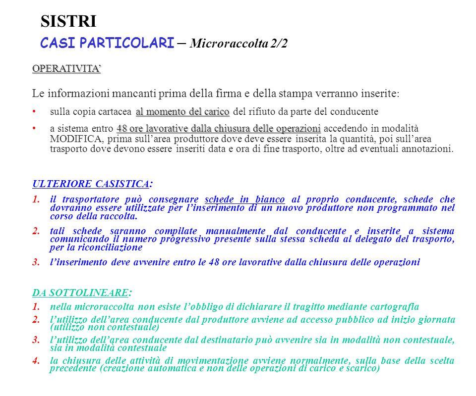 SISTRI CASI PARTICOLARI – Microraccolta 2/2