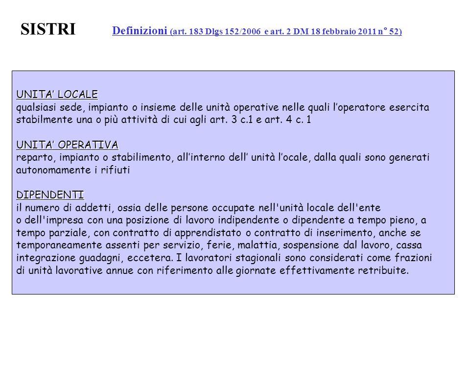 SISTRI. Definizioni (art. 183 Dlgs 152/2006 e art