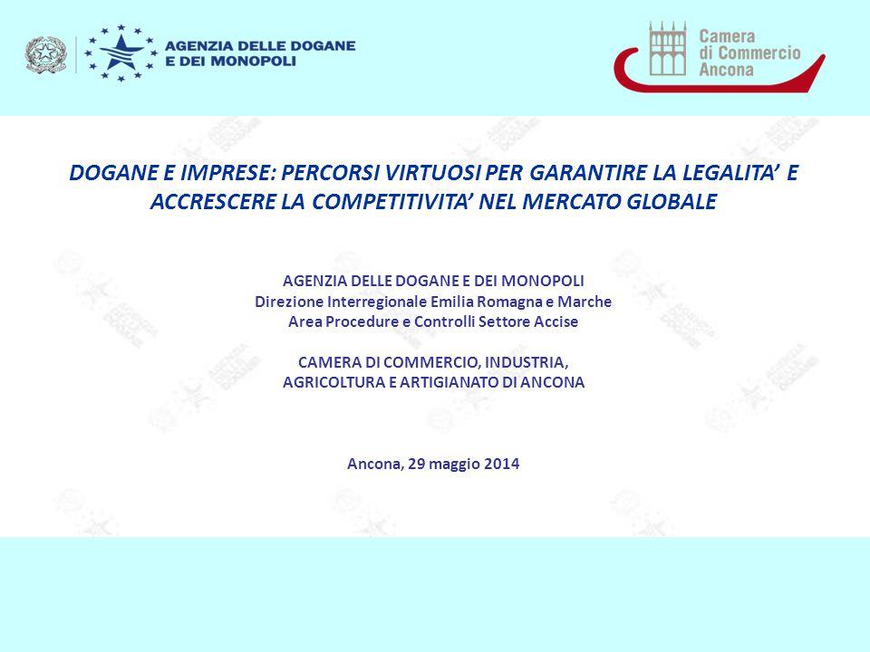 DOGANE E IMPRESE: PERCORSI VIRTUOSI PER GARANTIRE LA LEGALITA' E ACCRESCERE LA COMPETITIVITA' NEL MERCATO GLOBALE