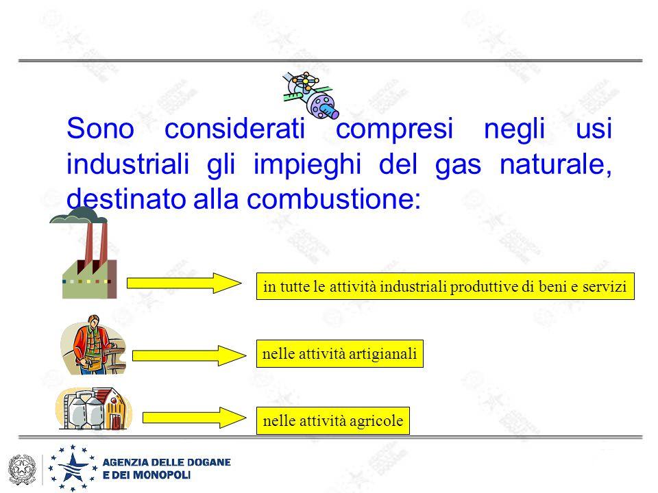 Sono considerati compresi negli usi industriali gli impieghi del gas naturale, destinato alla combustione: