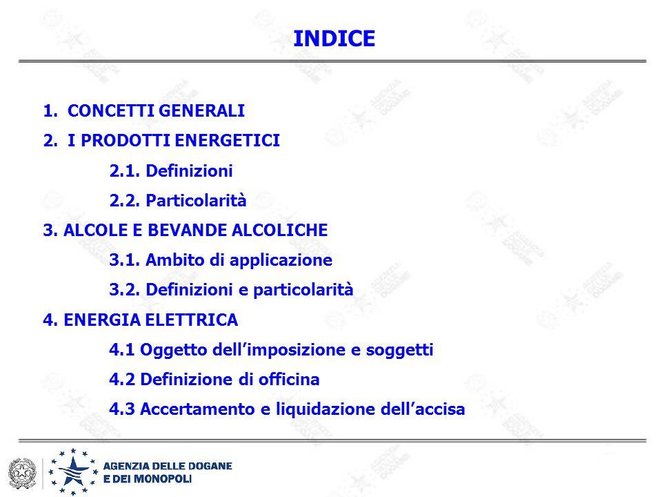 INDICE CONCETTI GENERALI I PRODOTTI ENERGETICI 2.1. Definizioni