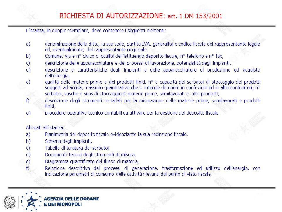 RICHIESTA DI AUTORIZZAZIONE: art. 1 DM 153/2001