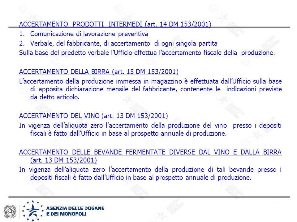 ACCERTAMENTO PRODOTTI INTERMEDI (art. 14 DM 153/2001)