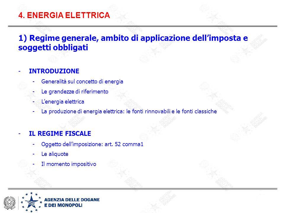 4. ENERGIA ELETTRICA 1) Regime generale, ambito di applicazione dell'imposta e soggetti obbligati. INTRODUZIONE.