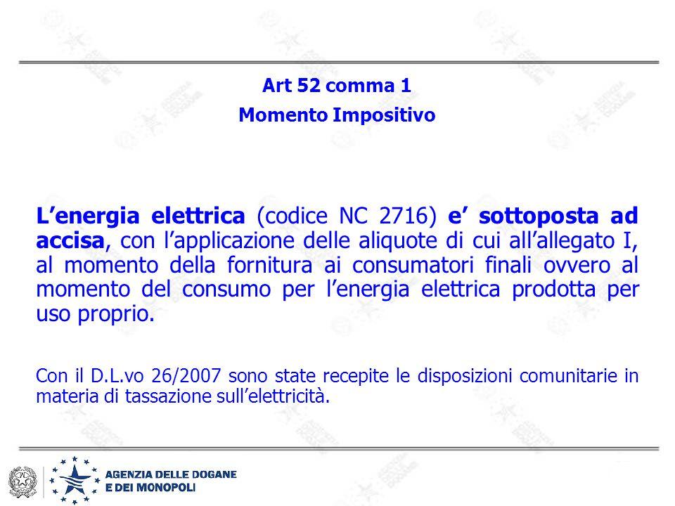Art 52 comma 1 Momento Impositivo.
