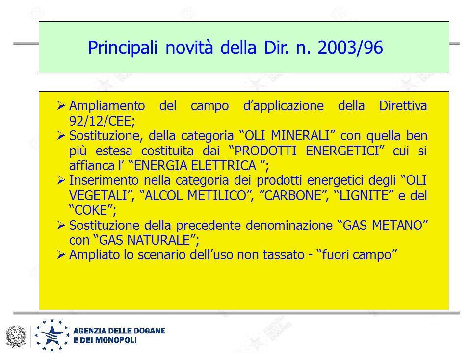 Principali novità della Dir. n. 2003/96