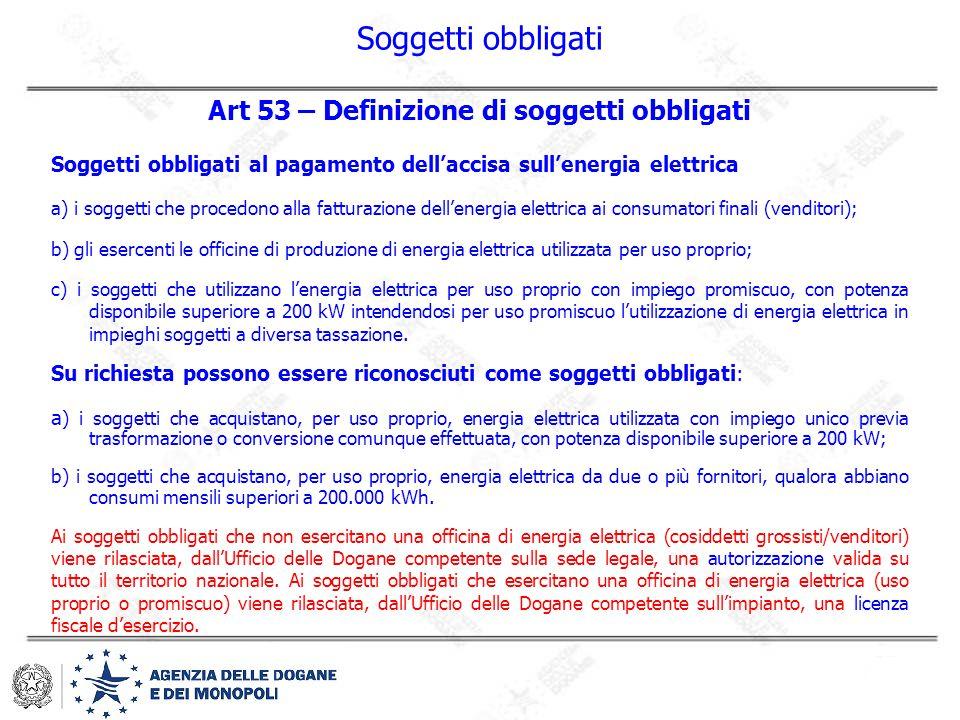 Art 53 – Definizione di soggetti obbligati