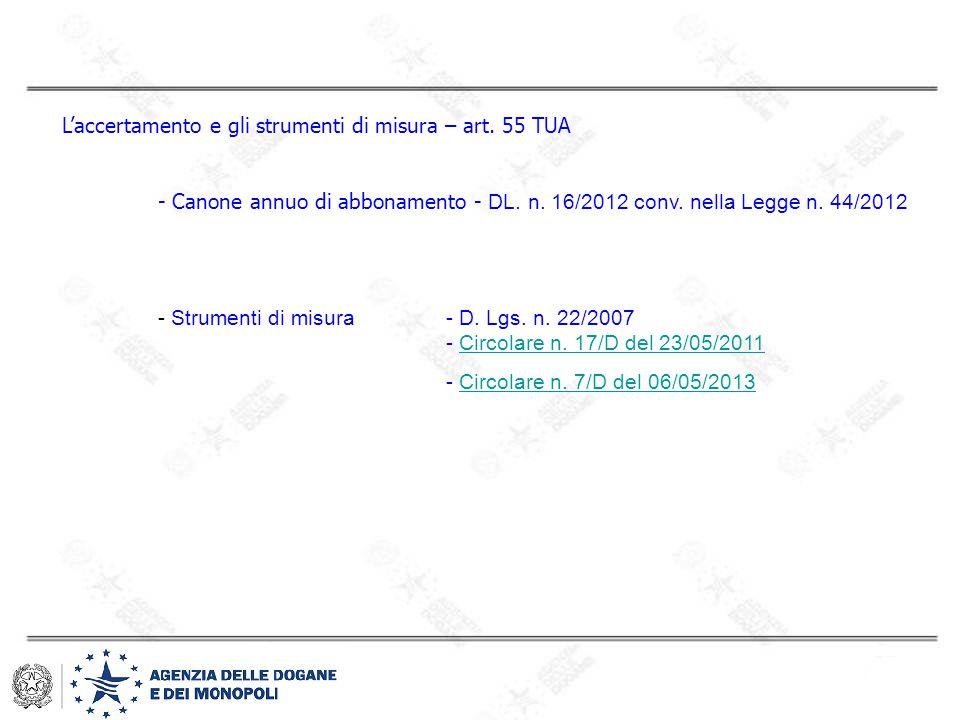 L'accertamento e gli strumenti di misura – art. 55 TUA