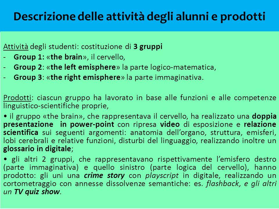 Descrizione delle attività degli alunni e prodotti