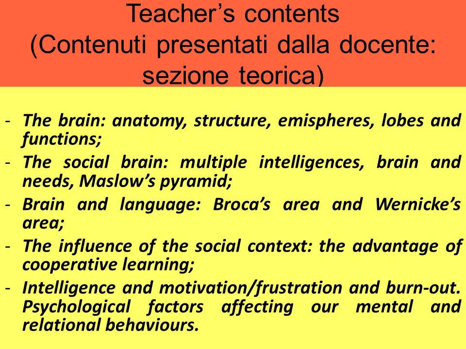 Teacher's contents (Contenuti presentati dalla docente: sezione teorica)