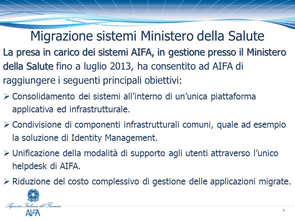 Migrazione sistemi Ministero della Salute