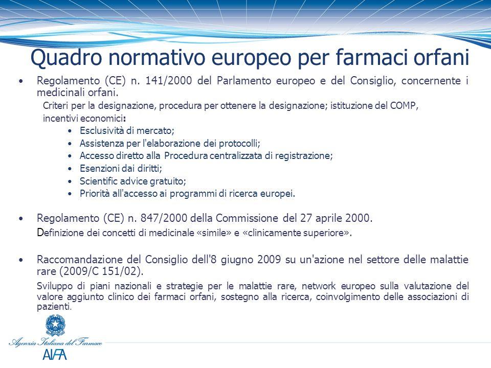 Quadro normativo europeo per farmaci orfani