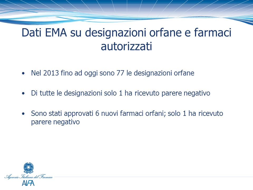 Dati EMA su designazioni orfane e farmaci autorizzati