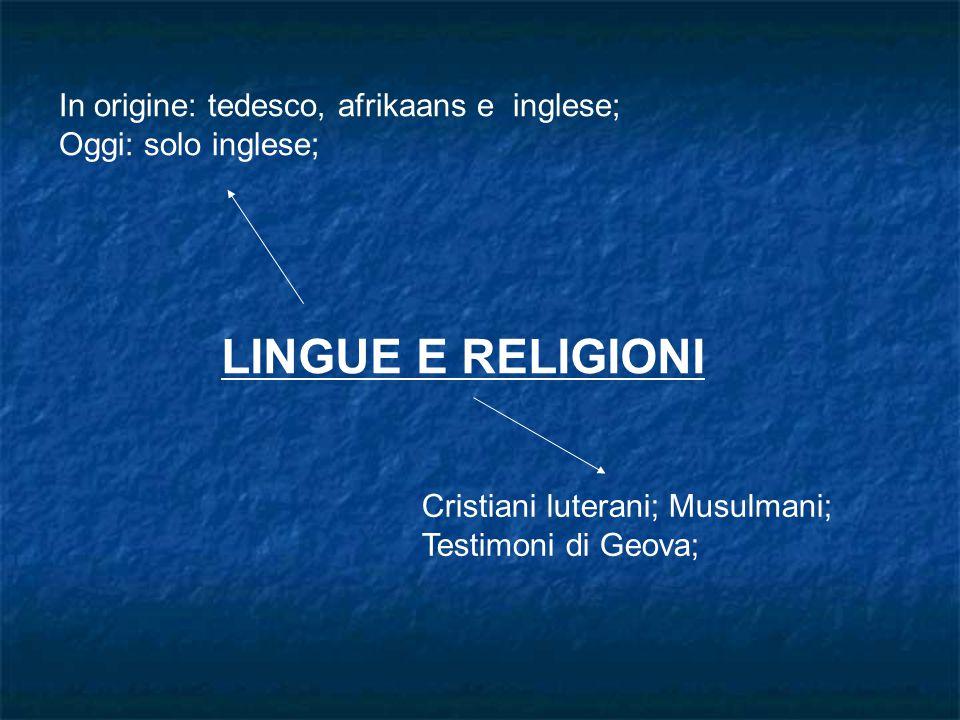 LINGUE E RELIGIONI In origine: tedesco, afrikaans e inglese;
