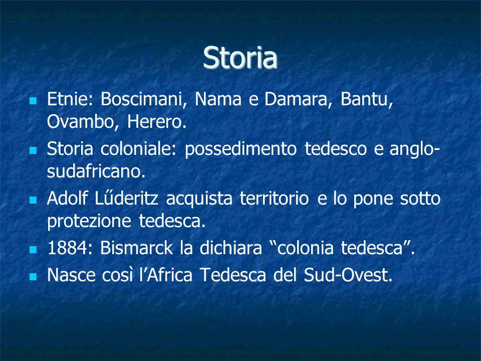 Storia Etnie: Boscimani, Nama e Damara, Bantu, Ovambo, Herero.