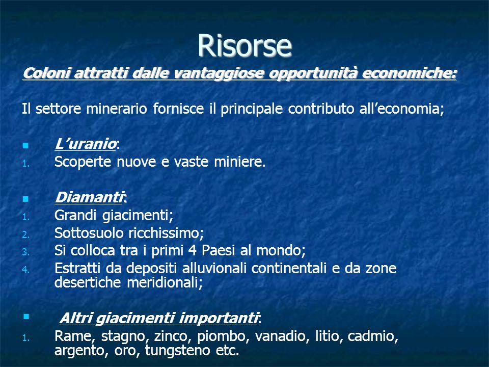 Risorse Coloni attratti dalle vantaggiose opportunità economiche: