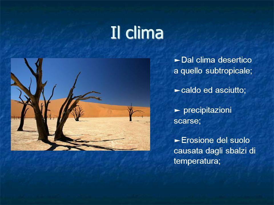 Il clima ►Dal clima desertico a quello subtropicale;