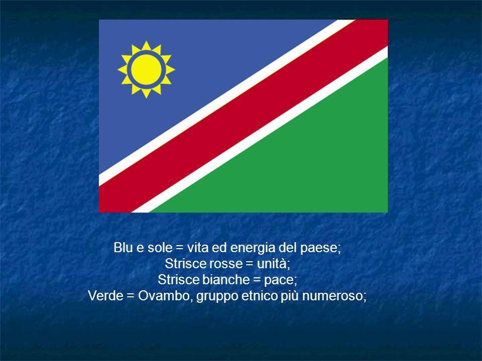 Blu e sole = vita ed energia del paese; Strisce rosse = unità;