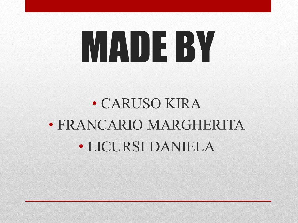 MADE BY CARUSO KIRA FRANCARIO MARGHERITA LICURSI DANIELA