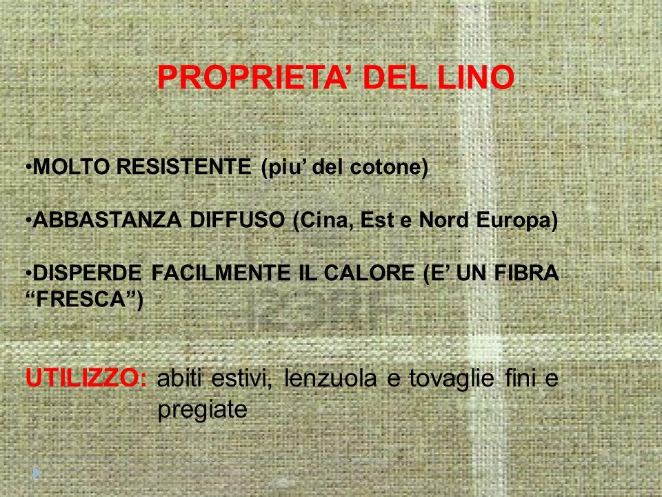 PROPRIETA' DEL LINO MOLTO RESISTENTE (piu' del cotone) ABBASTANZA DIFFUSO (Cina, Est e Nord Europa)