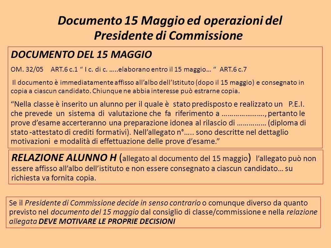 Documento 15 Maggio ed operazioni del Presidente di Commissione