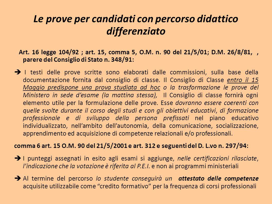 Le prove per candidati con percorso didattico differenziato