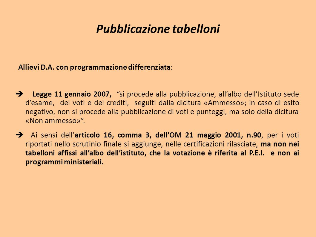 Pubblicazione tabelloni
