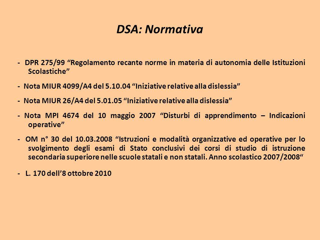 DSA: Normativa - DPR 275/99 Regolamento recante norme in materia di autonomia delle Istituzioni Scolastiche