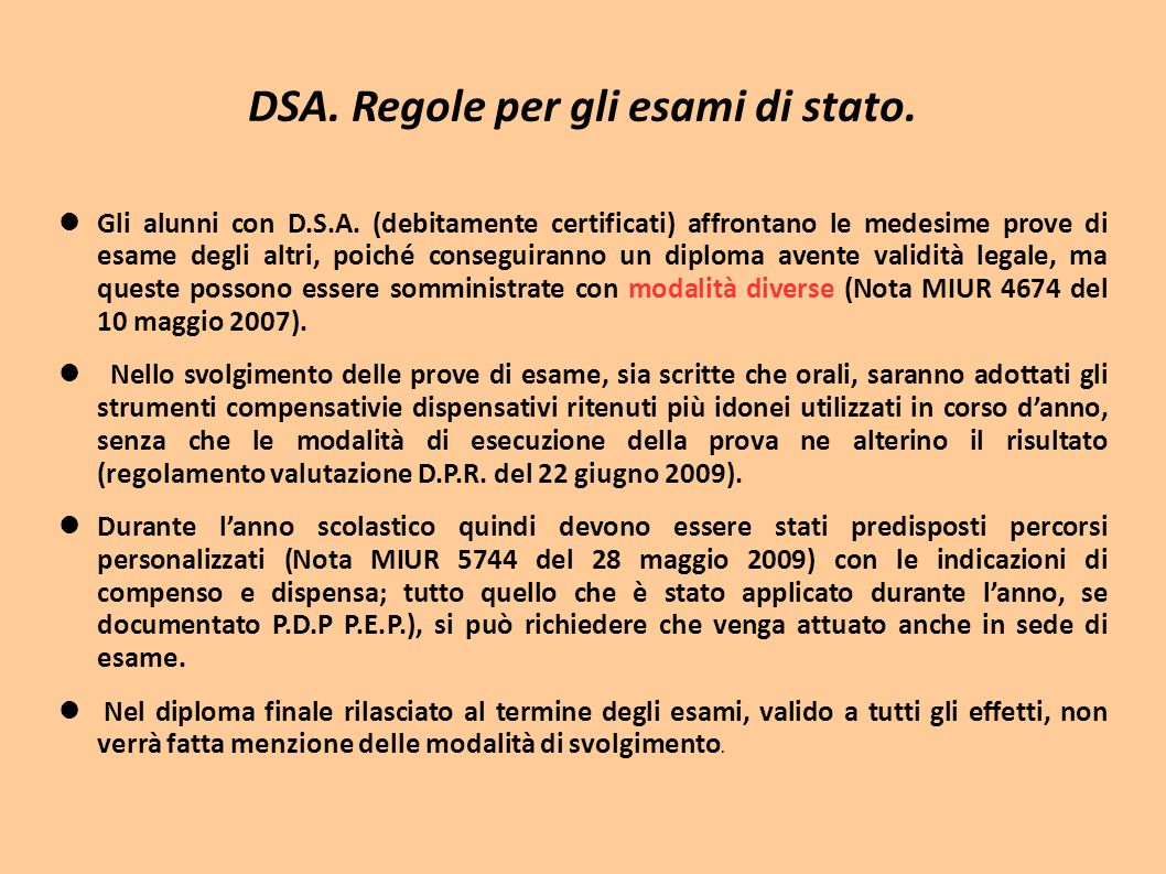 DSA. Regole per gli esami di stato.