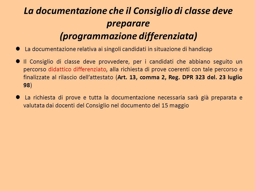 La documentazione che il Consiglio di classe deve preparare (programmazione differenziata)