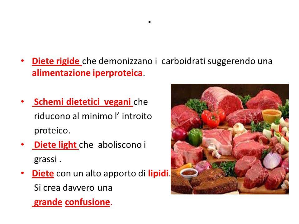 . Diete rigide che demonizzano i carboidrati suggerendo una alimentazione iperproteica. Schemi dietetici vegani che.