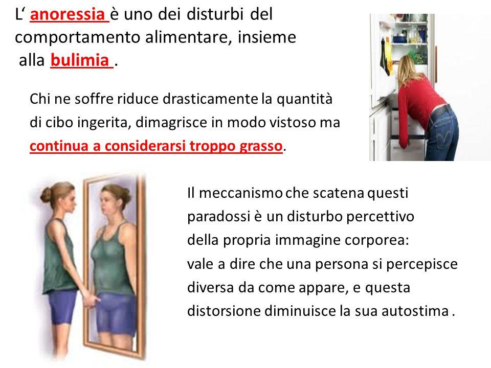 L' anoressia è uno dei disturbi del comportamento alimentare, insieme alla bulimia .