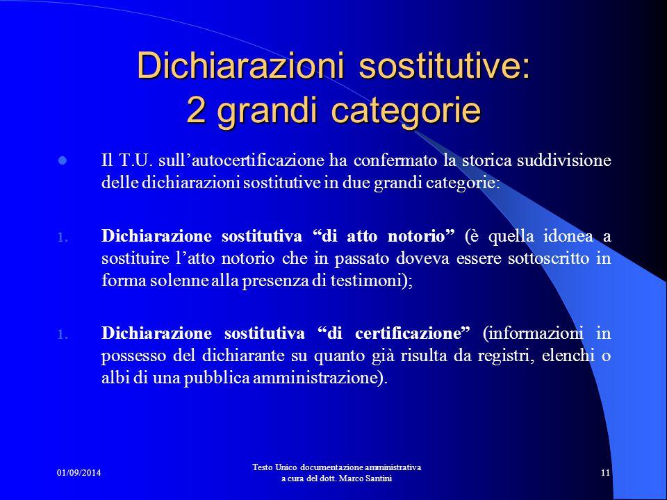 Dichiarazioni sostitutive: 2 grandi categorie