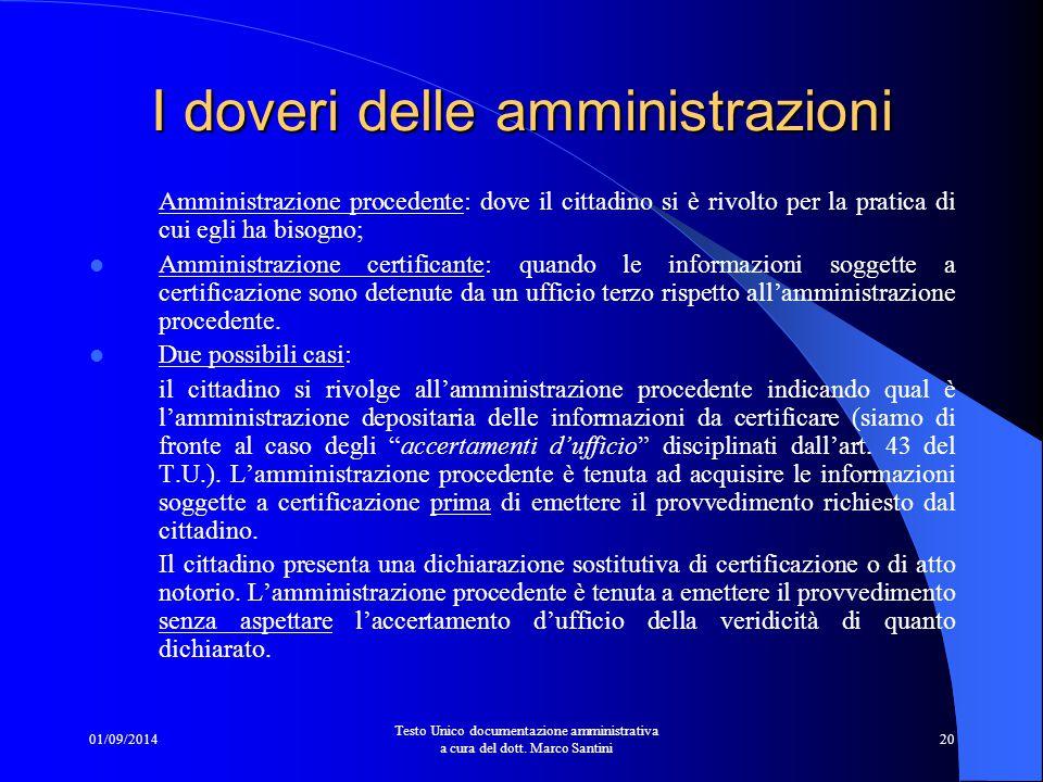 I doveri delle amministrazioni